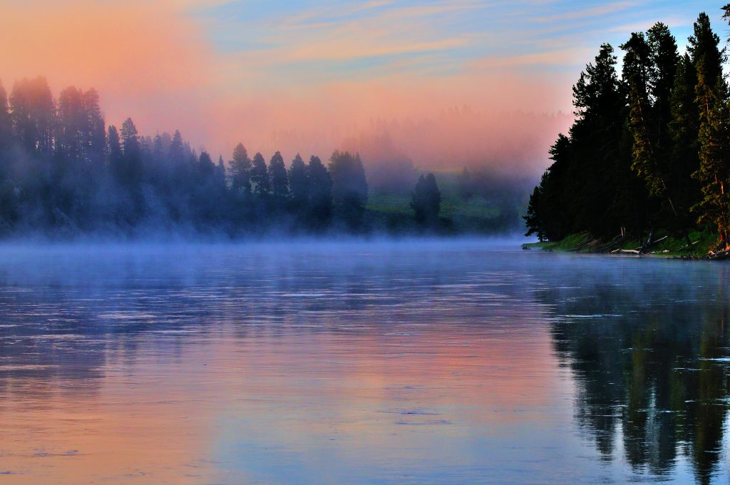 Picture of Early Morning fog on the Yellowstone National Park by Greg Zenitsky is licensed under CC BY-NC 2.0